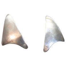 Vintage 925 Atomic Modernist Earrings Sterling Silver Pierced