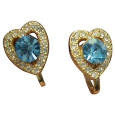 Coro Heart Shaped Earrings Costume Jewelry Signed Rhinestones Blue Topaz Aquamarine