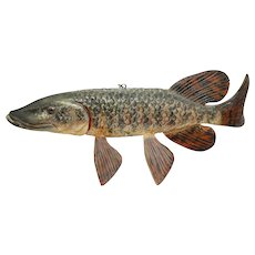 Muskellunge Fish Decoy Wood Carving Folk Art Steve Needham Life Size Fishing Wooden Muskie Sculpture