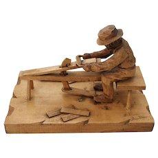 Quebec Folk Art Carving Diorama Gautier Shingle Maker Carpenter Draw Knife Vintage