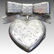Birks Sterling Silver Heart Pin Double Photo Locket Sweetheart Jewelry Antique Brooch