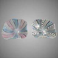2 Venetian Latticino Glass Dishes Vintage Art Italian Murano Italy Bowl