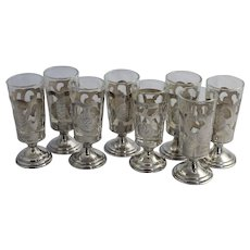 8 Vintage Mexican Sterling Silver Shot Glasses Liqueur Cordials 925 Taxco Mexico