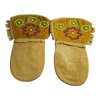 Native Indian Art Beadwork Beaded Leather Mitts Indigenous Innu Gauntlets
