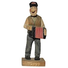 Trygg Folk Art Wood Carving Figure Painted Primitive Country Accordian Player