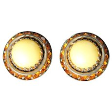 Art Deco Clip On Earrings - Bohemian Glass Crystal Rhinestones - Lemon Yellow Satin Amber -