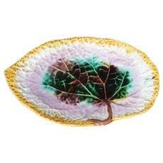 Majolica Pottery Platter Begonia Leaf Serving Dish Antique Plate