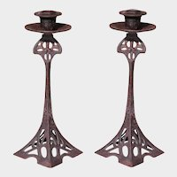 Art Nouveau Brass Candlesticks Jugendstil Secessionist Antique Candle Holders Pair