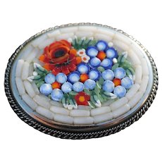 Micro Mosaic Flower Brooch Italy Art Glass Micromosaic Vintage Jewelry Pin