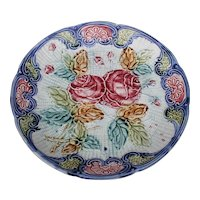 Majolica Plate Red Roses Pottery Art Nouveau Victorian Home Decor Wall Hanging