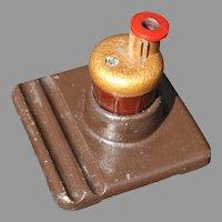 Art Deco Mechanical Pencil Sharpener Cherry Red Bakelite Cast Iron Industrial Design