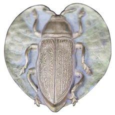 Hat Pin Scarab Beetle Heart Lily Antique Art Nouveau Aesthetic Movement Victorian Fashion