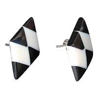Op Art Earrings Diamond Shape Pop Statement Fashion Checkerboard