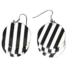 Op Art Pierced Earrings Zebra Striped Dangle Statement Runway Jewelry Retro Early Plastic