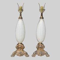 Pair Barovier & Toso Murano Art Glass Lamps Tri Lights 1950s