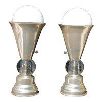 Art Deco Machine Age Lamps Aluminum Glass Table Torchieres Lights
