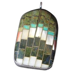 Southwestern Pendant Native American Silver Turquoise Inlay Vintage