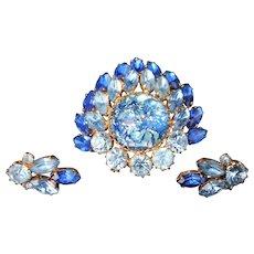 Vintage Brooch Pierced Earrings Set Jewelry Pin Cabochon Rhinestone Costume Unsigned Beauty