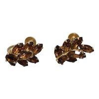 Vintage Sherman Jewelry Earrings Rhinestone Costume Signed Screw Back
