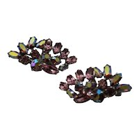Pink Sherman Earrings Aurora Borealis Clip On Rhinestone Jewelry