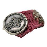 Antique Art Nouveau Coin Purse Tam O Shanter Fleur de Lis Beaded Crochet