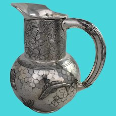 Aesthetic Movement Silverplate Pitcher Repousse Figural Antique Jug