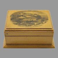 Antique Mauchline Ware Box Edinburgh Castle Scotland Sycamore Wood Souvenir