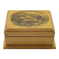 Antique Mauchline Ware Box Edinburgh Castle Scotland Sycamore Wood Souvenir