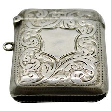 Match Safe Chatelaine Vesta Case - Sterling Silver John Rose Birmingham 1907
