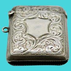 Sterling Silver Match Safe Vesta Case John Rose Birmingham 1907 Chatelaine Fob