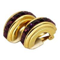 Oscar de la Renta Designer Earrings Clip On Fashion Jewelry Crystal Purple Rhinestone