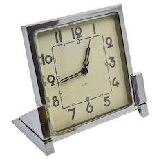 Art Deco Chrome 8 Day Clock Mechanical Wind