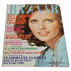 1975 Harper's Bazaar Magazine July Women's Fashion Clothing Beauty 70s Ads Cheryl Tiegs