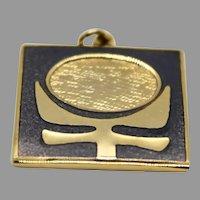 Modernist de Passille Sylvestre Pendant Enamel Gold Tone Jewelry