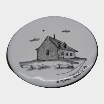 Vintage Jewelry Brooch Hand Painted Enamel on Copper Quebec House Pin Signed Morin