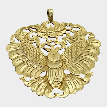 Kenneth Lane Pendant Designer Statement Fashion Runway Jewelry Chinese Moth Butterfly Large