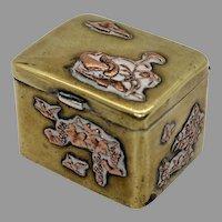 Antique Japanese Meiji Period Snuff Box Mixed Metals