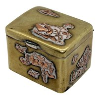 Antique Japanese Meiji Period Snuff Box Hinged Pill Trinket Ring
