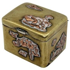 Antique Japanese Meiji Period Snuff Box Hinged Pill Trinket Ring