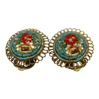 Micro Mosaic Flower Clip-On Earrings Italy Art Glass Gold Tone