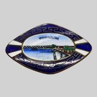 Weymouth Enamel Souvenir Pin Edwardian England Guilloche Bridge Jewelry Brooch
