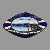 Weymouth UK Enamel Souvenir Pin Edwardian England Guilloche Bridge Jewelry Brooch