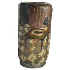 Art Pottery Vase BISSON Canada Sgraffito Decorated Stoneware Mid Century