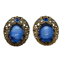 Blue Art Glass Rhinestone Clip On Earrings Germany