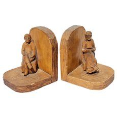 Figural Carved Wood Folk Art Bookends Quebec Primitive Country Pine