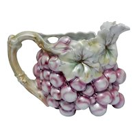 Royal Bayreuth Jug Luster Repousse Grape Pitcher Victorian