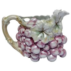 Royal Bayreuth Jug Luster Repousse Grape Pitcher Victorian