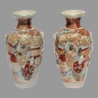 2 Japanese Vases Satsuma Pair Meiji Kutani Gilt Moriage Earthenware