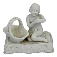 Antique Parian Ware Figurine Match Holder Spill Vase 19th C