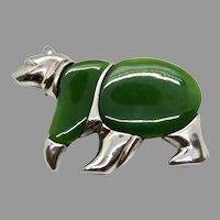 Sterling Silver Bear Brooch Nephrite Jade Modernist Figural Jewelry Pin